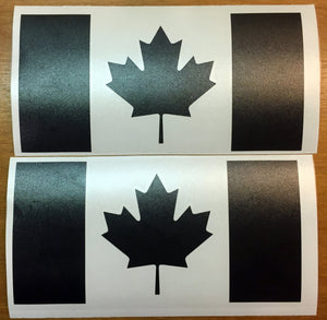 Canadian Flag Decals - Premium Cast Matte Black Vinyl x2 - TVD Vinyl Decals