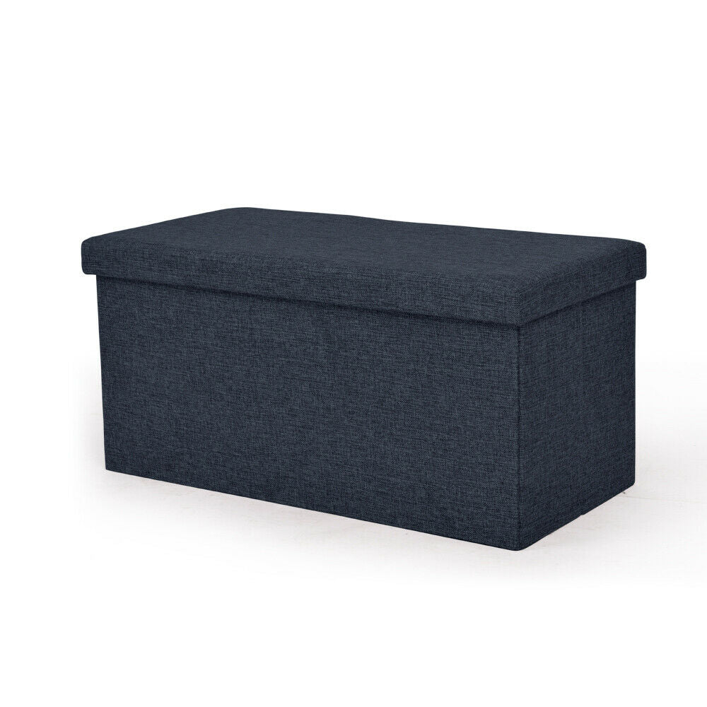 quality design 13be0 802ed Folding Blanket Box Ottoman Toy Storage Padded Linen Fabric Foot Stool Bed  Chest