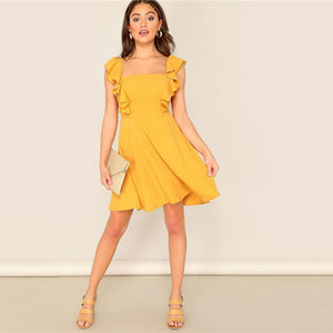 Yellow Glamorous Ruffle Trim Skater Fit and Flare High Waist Mini Dress Women Summer Sleeveless A Line Party Dresses