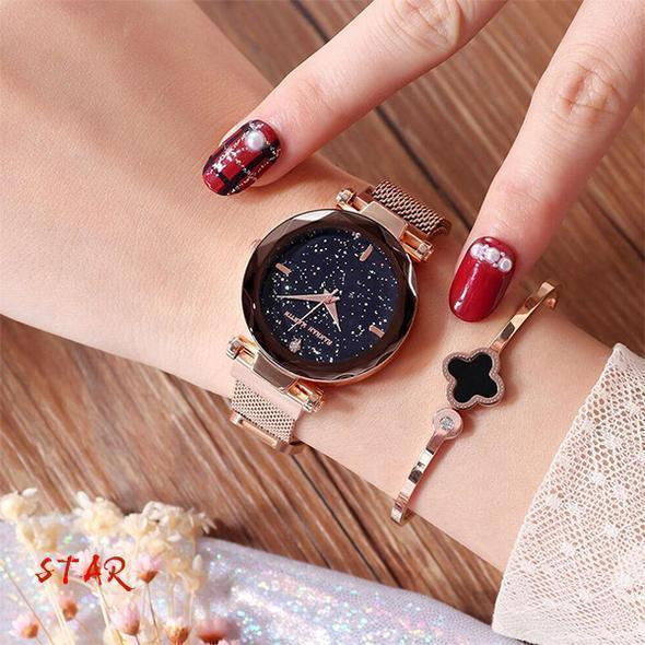 (Free Bracelet)Bling Magnetic Watchband Engraved Women Watches - Graceasyi