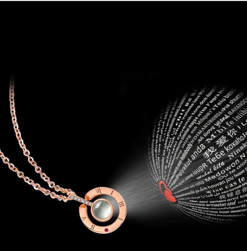 "100 Language ""I Love You"" Projection Pendant Necklace"