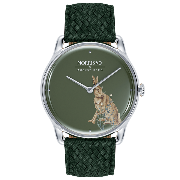 Morris & Co. Crimson Silver Forest Hare | Green Perlon-Watches-August Berg Official Site