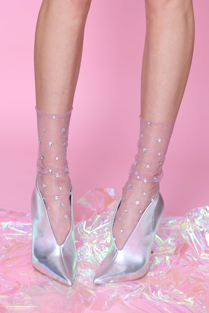 A Wish Upon A Star Tulle Sock- Soft White