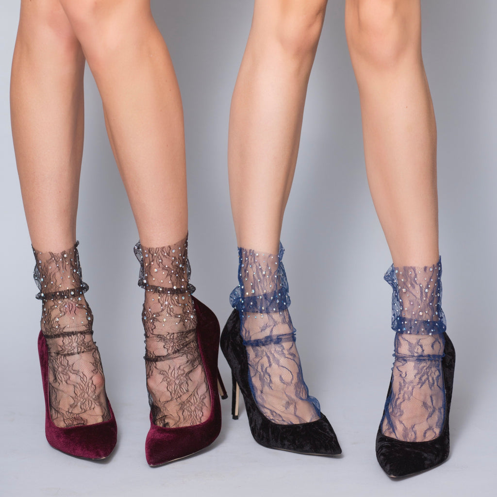 Crystal Lace Sock – Midnight Blue