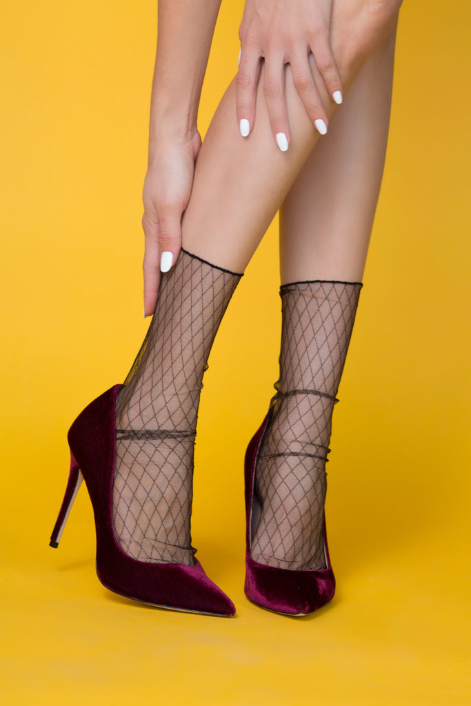 Criss Cross Sheer Sock – Black