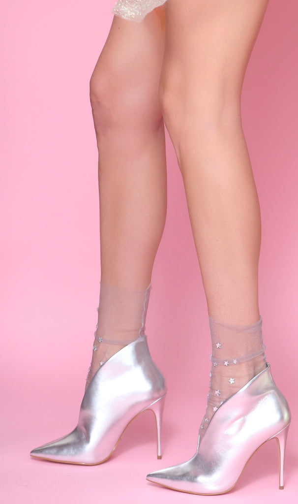 Wish Upon A Star Tulle Sock- Grey [Five Colors]