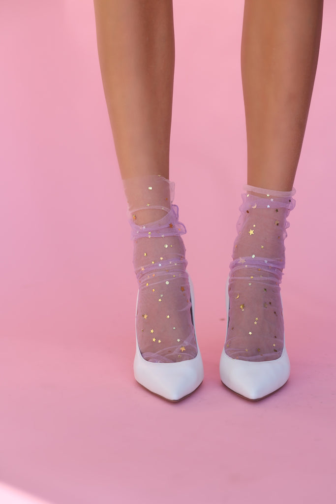 Twin Star Double Packs- Pastel Starry Sky Tulle Sock – Pink/Aqua and Lilac/Peach
