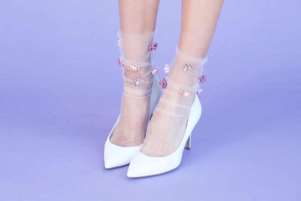 Never Settle Petal Tulle Sock -Ivory/ Blush Combo