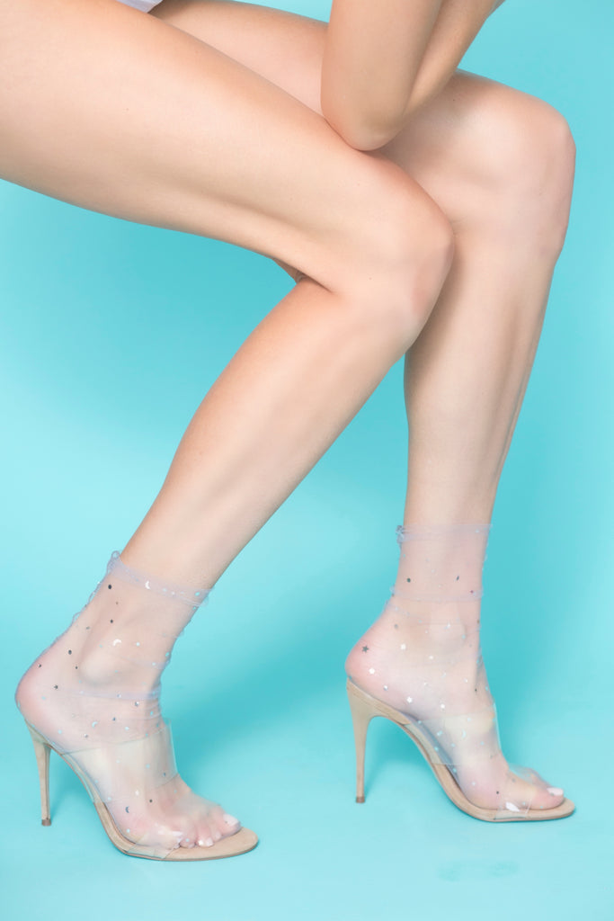 sheer tulle fashion socks star and moon- silver