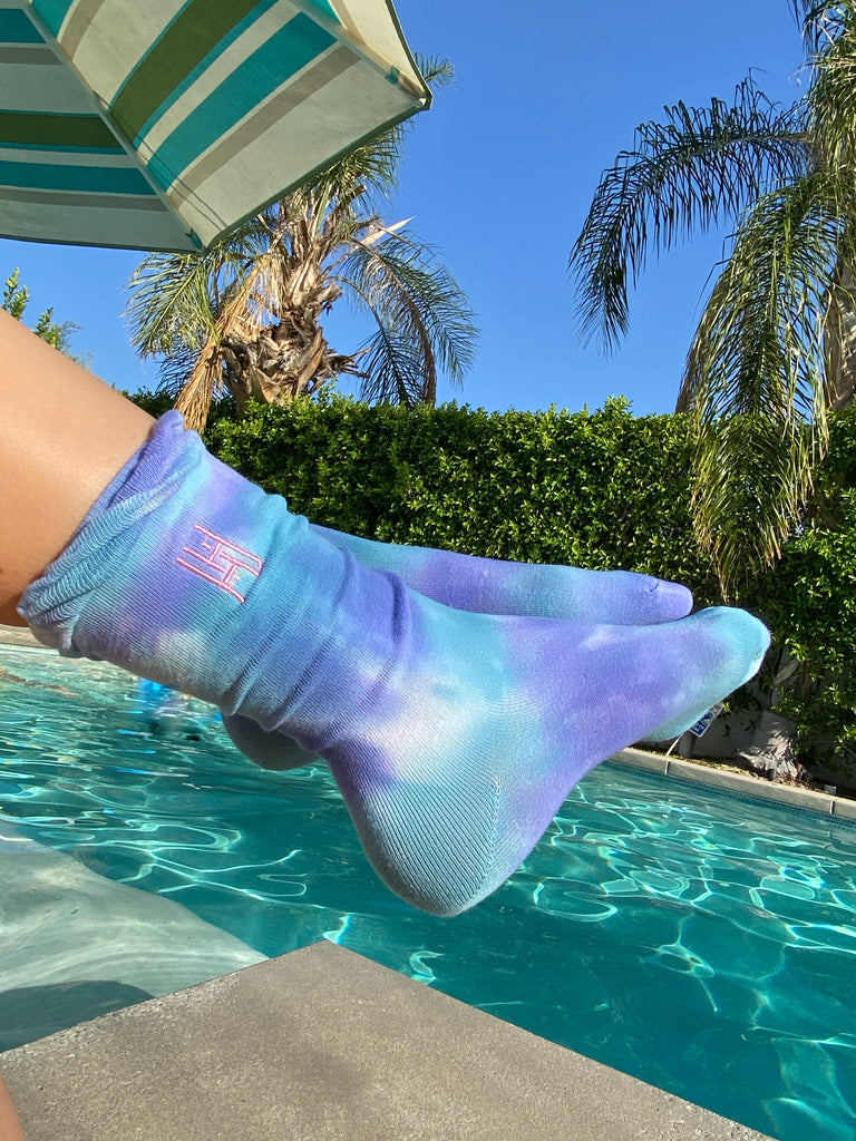 Happy Days Tie Dye Sock & Scrunchie Set - Aqua/Purple