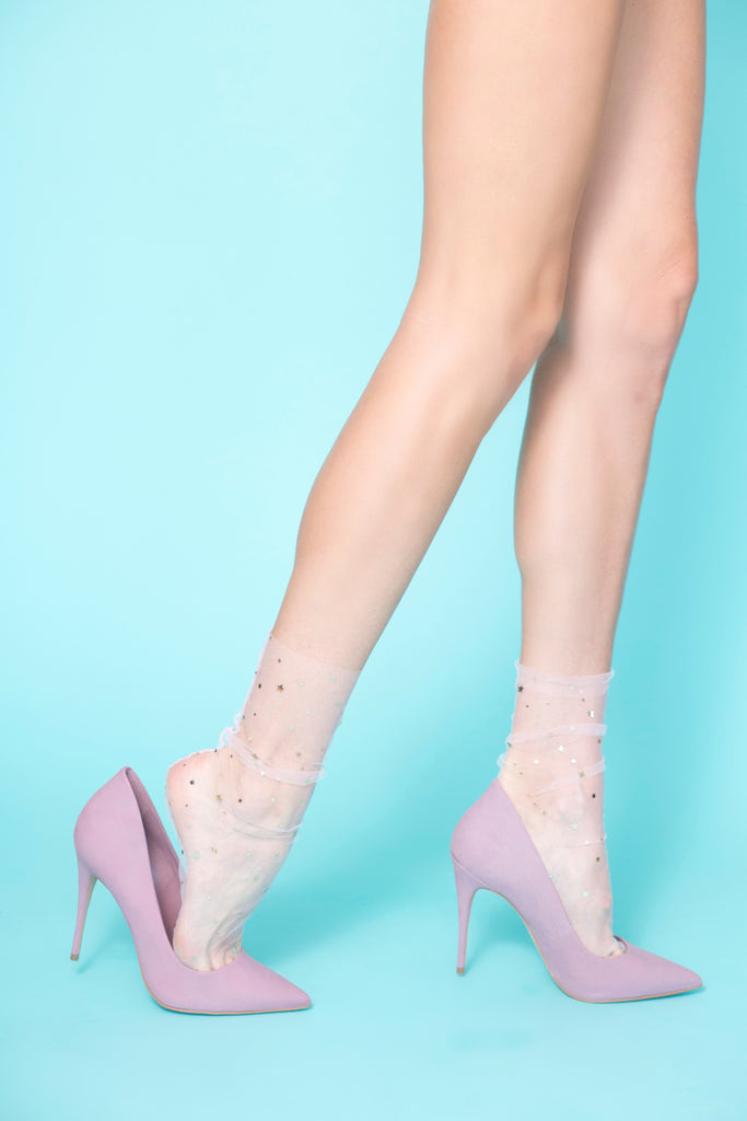 Starry Sky Tulle Sock – Nude/ Gold
