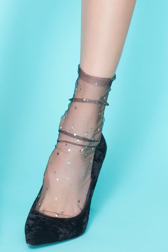 Invisible Tulle Star and Moon Socks High Heel Jungle Black