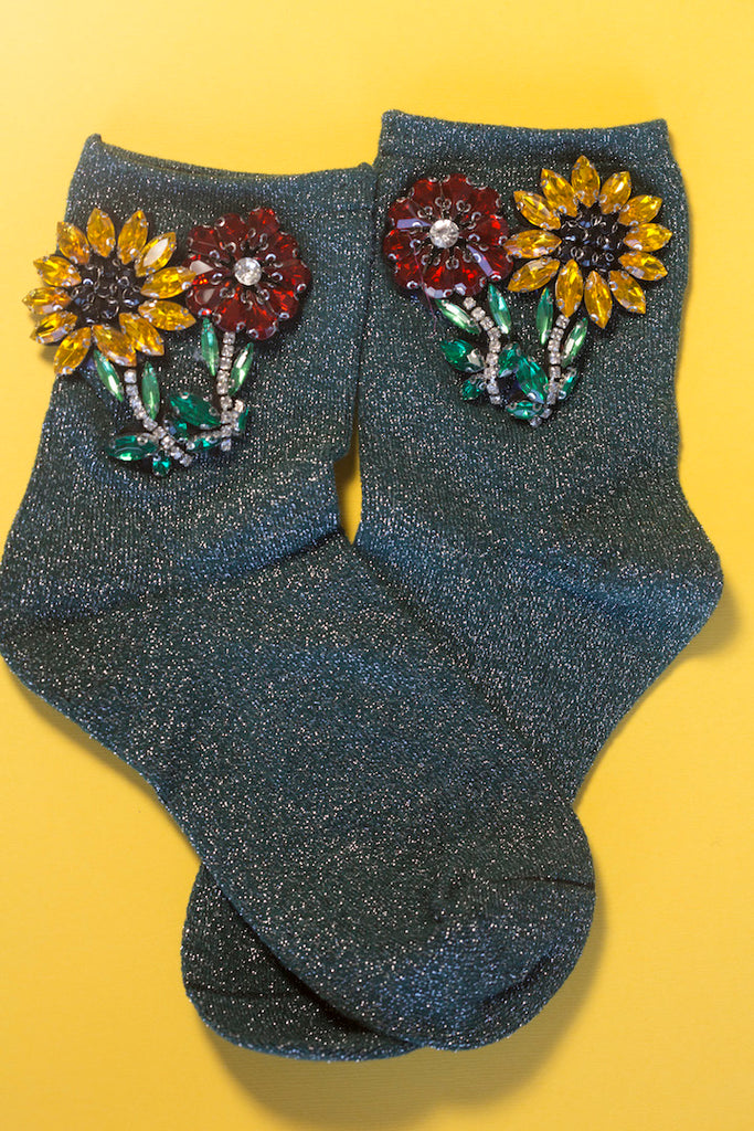 Sunflower Crystal Glitter Sock