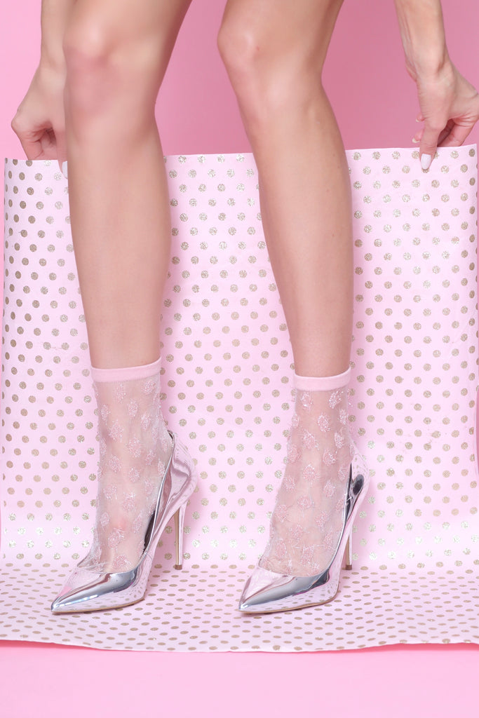Tickled Pink Metallic Sheer Sock