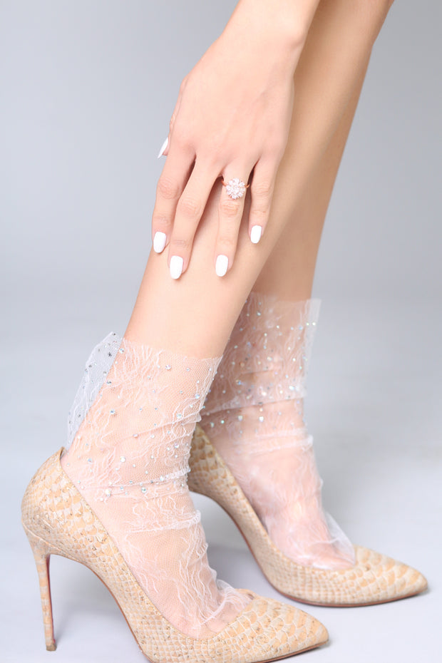 Crystal Lace Sock – White 1