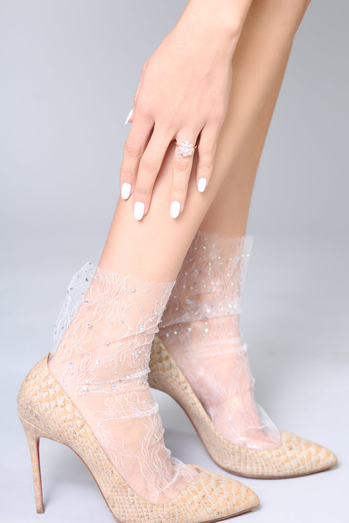 Crystal Lace Sock – White