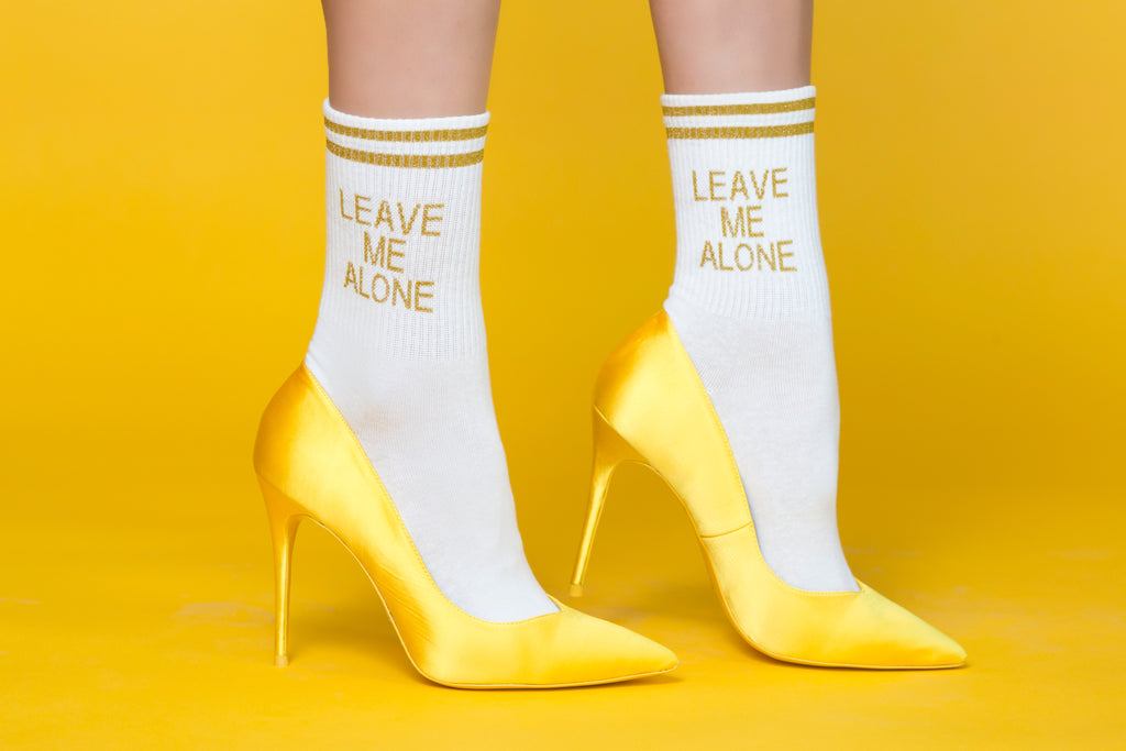 Leave Me Alone Cotton Socks – Gold/ White
