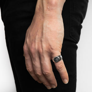 Circle Silver Signet Ring | Hand | Handcrafted in Ireland