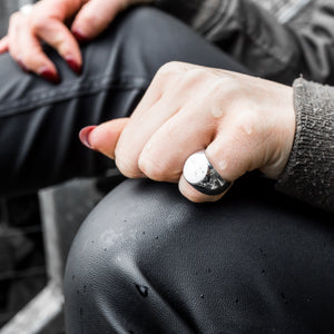 Circle Silver Signet Ring | Womens | Handcrafted in Ireland