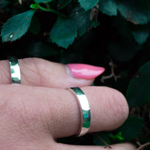 Eco-friendly Hammered Silver Band I Womens
