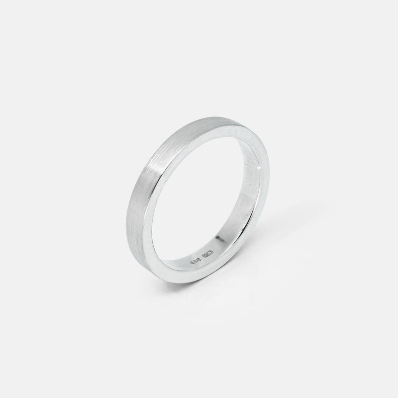 Eco-Friendly Sustainable Brushed Silver Band Ring | Angle