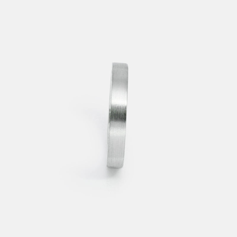 Eco-Friendly Sustainable Brushed Silver Band Ring | Front