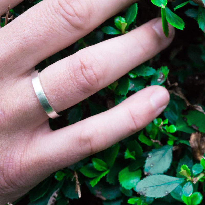 Eco-Friendly Sustainable Brushed Silver Band Ring | Mens