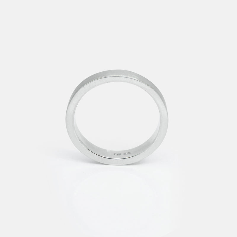 Eco-Friendly Sustainable Brushed Silver Band Ring | Side