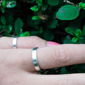 Eco-Friendly Sustainable Brushed Silver Band Ring | Womens