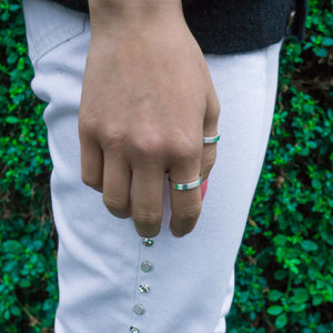 Eco-Friendly Sustainable Brushed Silver Band Ring | Hands