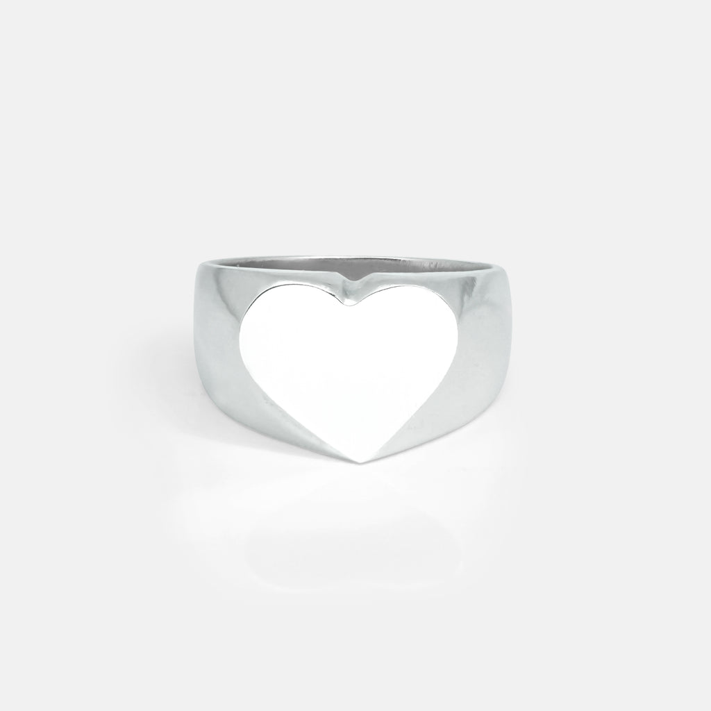 Heart Silver Signet Ring | Womens/Front | Handcrafted in Ireland