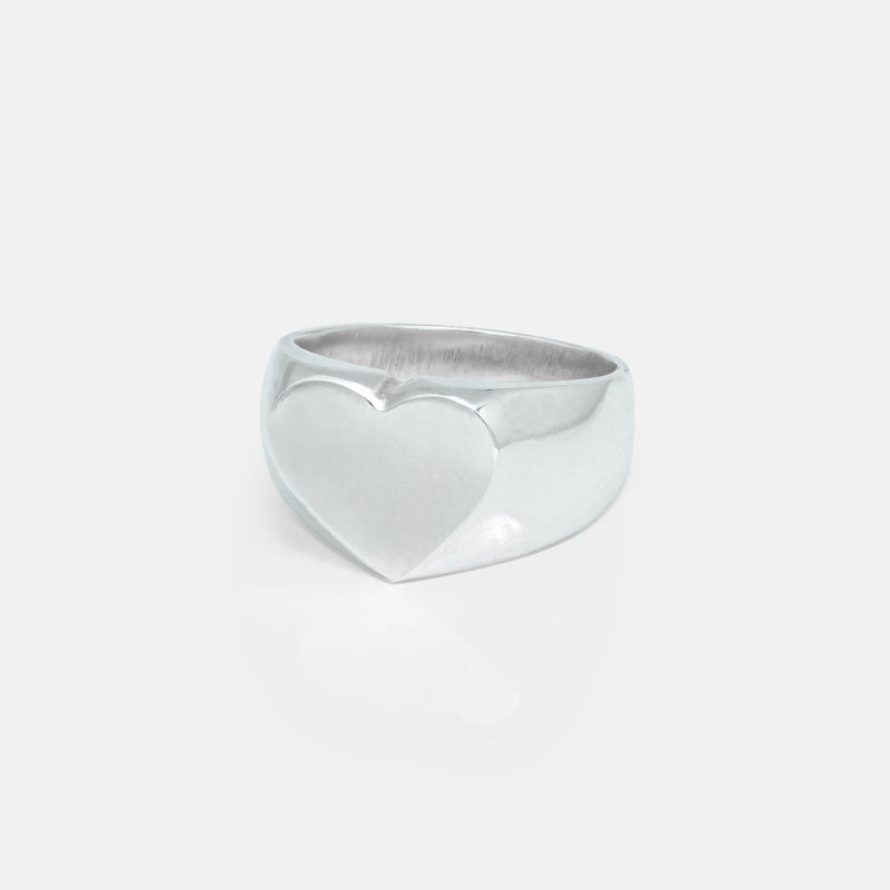 Heart Silver Signet Ring | Womens/Side | Handcrafted in Ireland