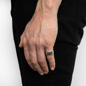 Square Silver Signet Ring | Hand | Handcrafted in Ireland