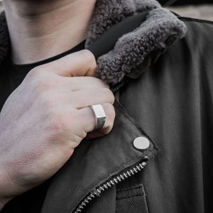 Square Silver Signet Ring | Mens | Handcrafted in Ireland