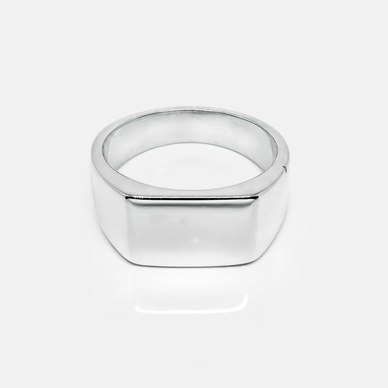 Square Silver Signet Ring | Front | Handcrafted in Ireland