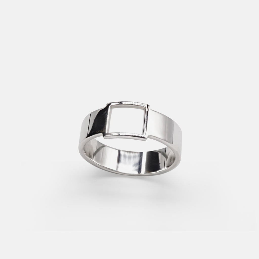 Cearnach Band - Square Silver Band Ring