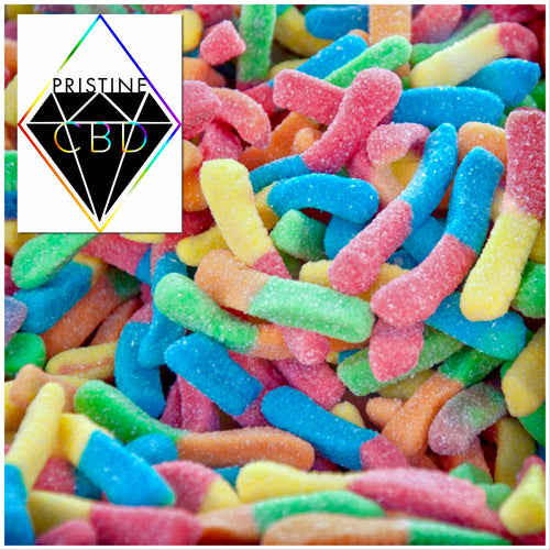 CBD Infused Sour Worms 150 MG 30pc 1/3lb Bag - Pristine CBD USA - 100% THC FREE - PURE, NATURAL, LEGAL CANNABINOID Products