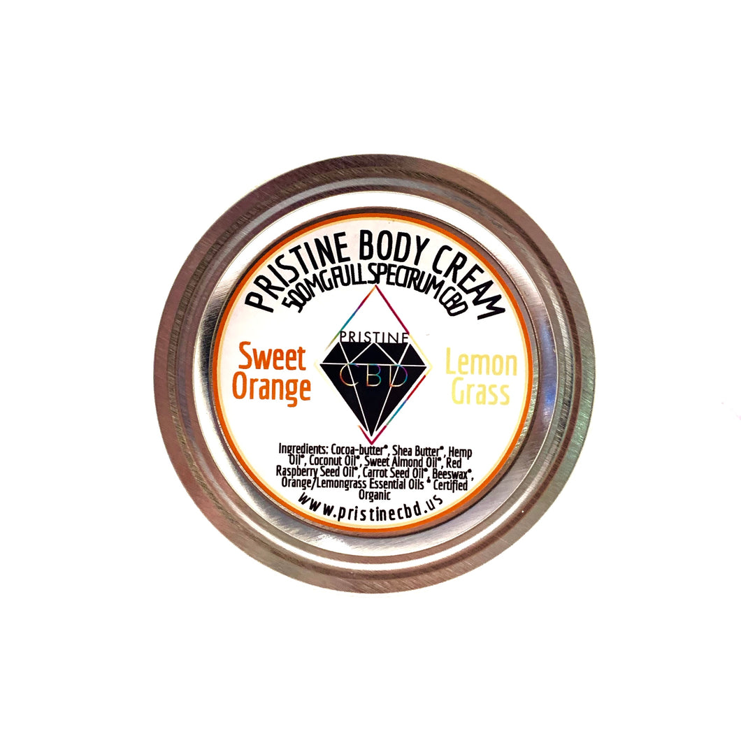 500MG Full Spectrum CBD Hemp Cream - Sweet Orange and Lemongrass - Pristine CBD USA - 100% THC FREE - PURE, NATURAL, LEGAL CANNABINOID Products
