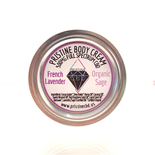 500MG Full Spectrum CBD Hemp Cream - French Lavender & Organic Sage - Pristine CBD USA - 100% THC FREE - PURE, NATURAL, LEGAL CANNABINOID Products