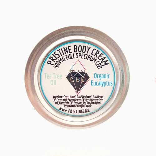 500MG Full Spectrum CBD Hemp Cream - Eucalyptus & Tea Tree - Pristine CBD USA - 100% THC FREE - PURE, NATURAL, LEGAL CANNABINOID Products