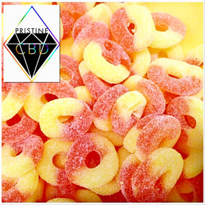 CBD Infused Peach Rings 150 MG 18pc 1/3lb Bag - Pristine CBD USA - 100% THC FREE - PURE, NATURAL, LEGAL CANNABINOID Products