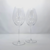 Cour Des Lys empty engraved Riedel champagne glasses