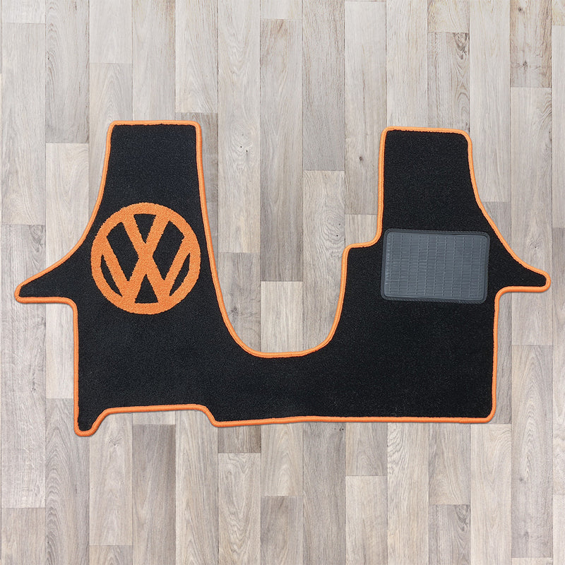 T5 2 plus 1 cab rug to fit kiravan swivel seat arrangement in orange and black with VW logo