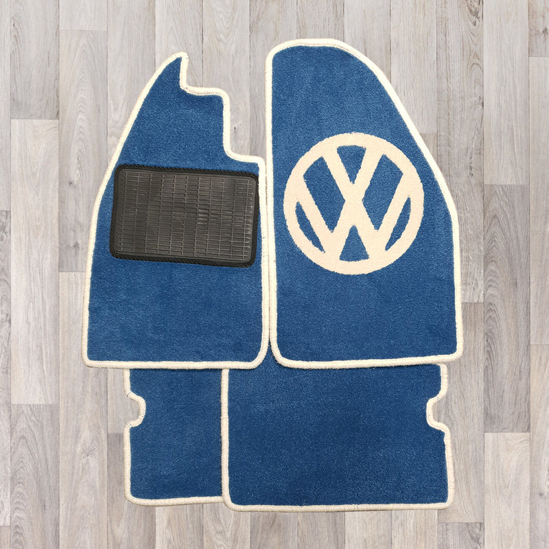 Classic VW Beetle carpet set shown in blue with cream trim and VW logo