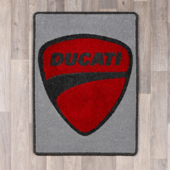 Rectangular rug with Ducati logo in light grey and red colours