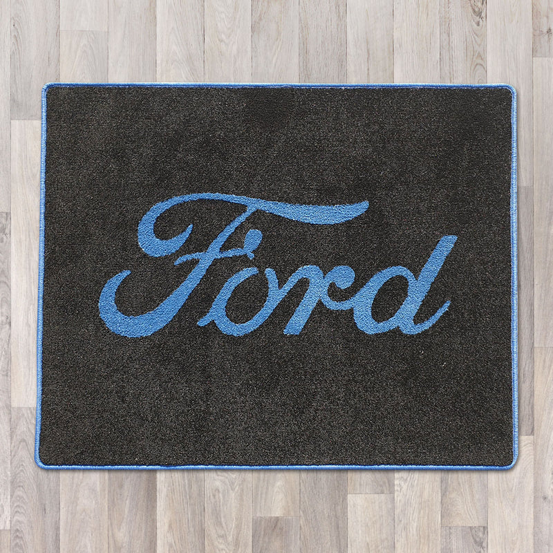 Ford rectangle floor rug 100cm by 80cm shown in black with blue logo and trim