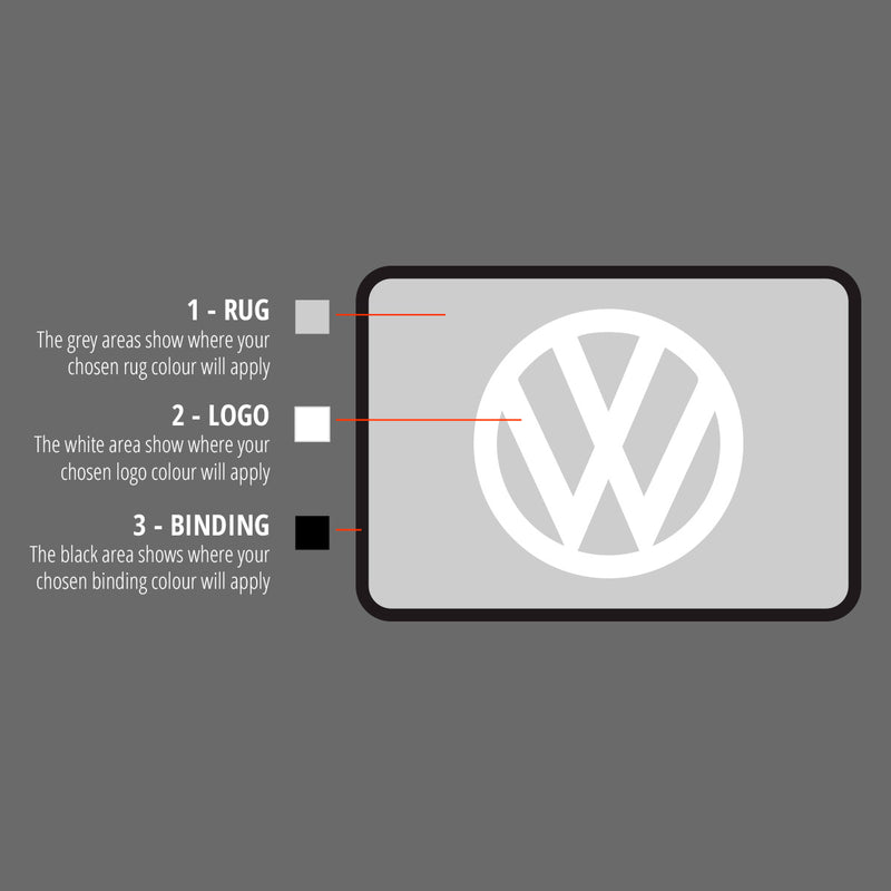 Rectangular rug with VW Wolfsburg logo in dark grey and blue colours