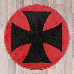 Round rug with VW Iron Cross logo in red and black colours