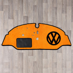 vw split screen cab rug with vw logo in black and orange colours