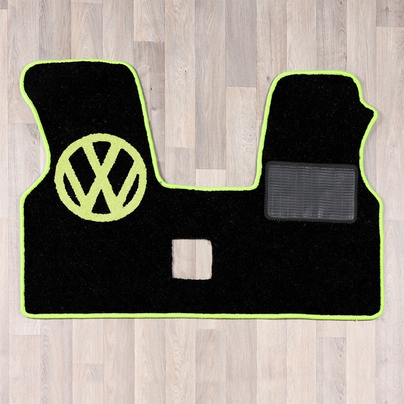 T4 vw van cab rug for 2 plus 1 seat arrangement in dark grey and green colours